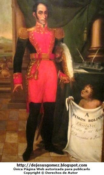 Foto de Simón Bolivar de cuerpo entero  (Retrato de Simón Bolivar hecho por Pablo Rojas). Foto tomada por Jesus Gómez