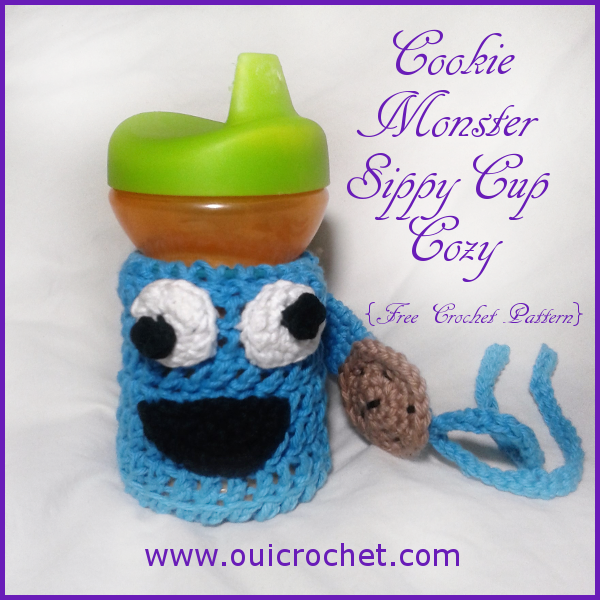 Cookie Monster Sippy Cozy, Sesame Street, Cookie Monster, Sippy Tether, Crochet Sippy Cozy, Crochet, Crochet Cookie Monster