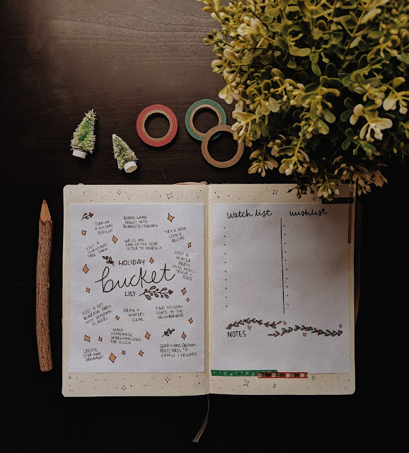holiday bucket list printable in journal spread