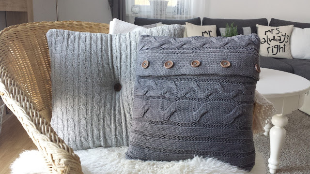 Poduszka ze swetra DIY