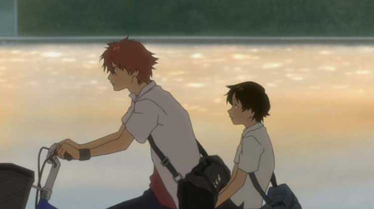 Makoto rides a bike with a friend in The Girl Who Leapt Through Time.