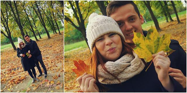 Przyszli rodzice, jesień, drzewa, liście