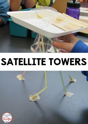 STEM Challenge: Build a satellite tower! The trick on this challenge was that students had to work as two separate teams. One half of the team built the satellite dish while the other half built the tower. Then they had to connect them together and the dish had to be movable.