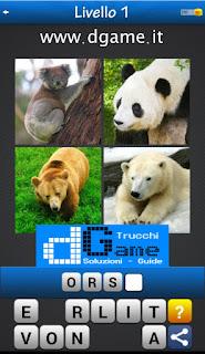 Trova la Parola - Foto Quiz con 4 Immagini e 1 Parola pacchetto 1 soluzione livello 1