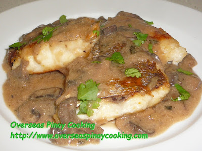 Fried Fish Fillet with Mushroom Sauce