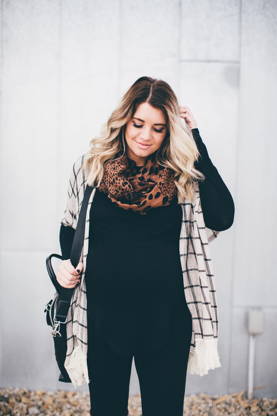 Pink Blush, Leopard Scarf, Maternity Outfit