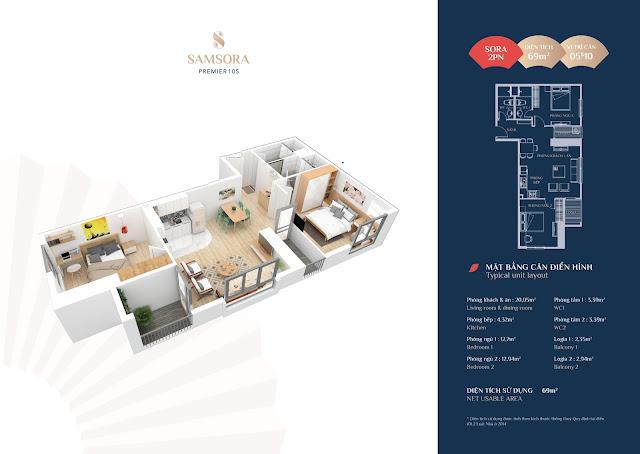 Thiết kế căn hộ 05 và 10: Diện tích 69m2