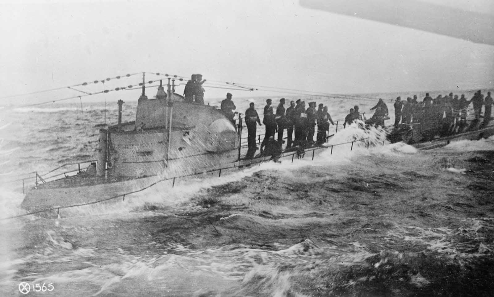 German submarine surrendering to the US Navy.