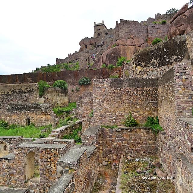 Ruined part of Golkonda Fort, Hyderabad