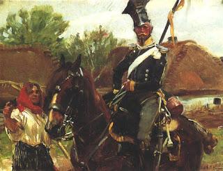 painting of 19th century Polish Uhlan on horse