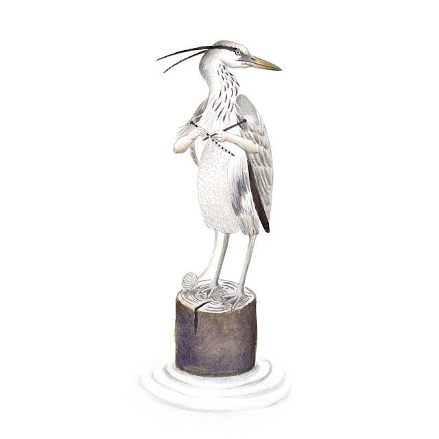 ilustración de pájaros, garza real, aves de la albufera, ardea cinerea, ilustración de aves, aves acuáticas, garza, Inktober, Inktober 2017,