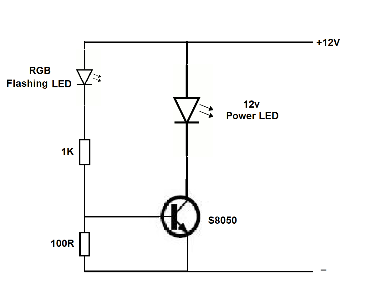 12v power LED flasher circuit using RGB flashing LED ~ Simple Projects