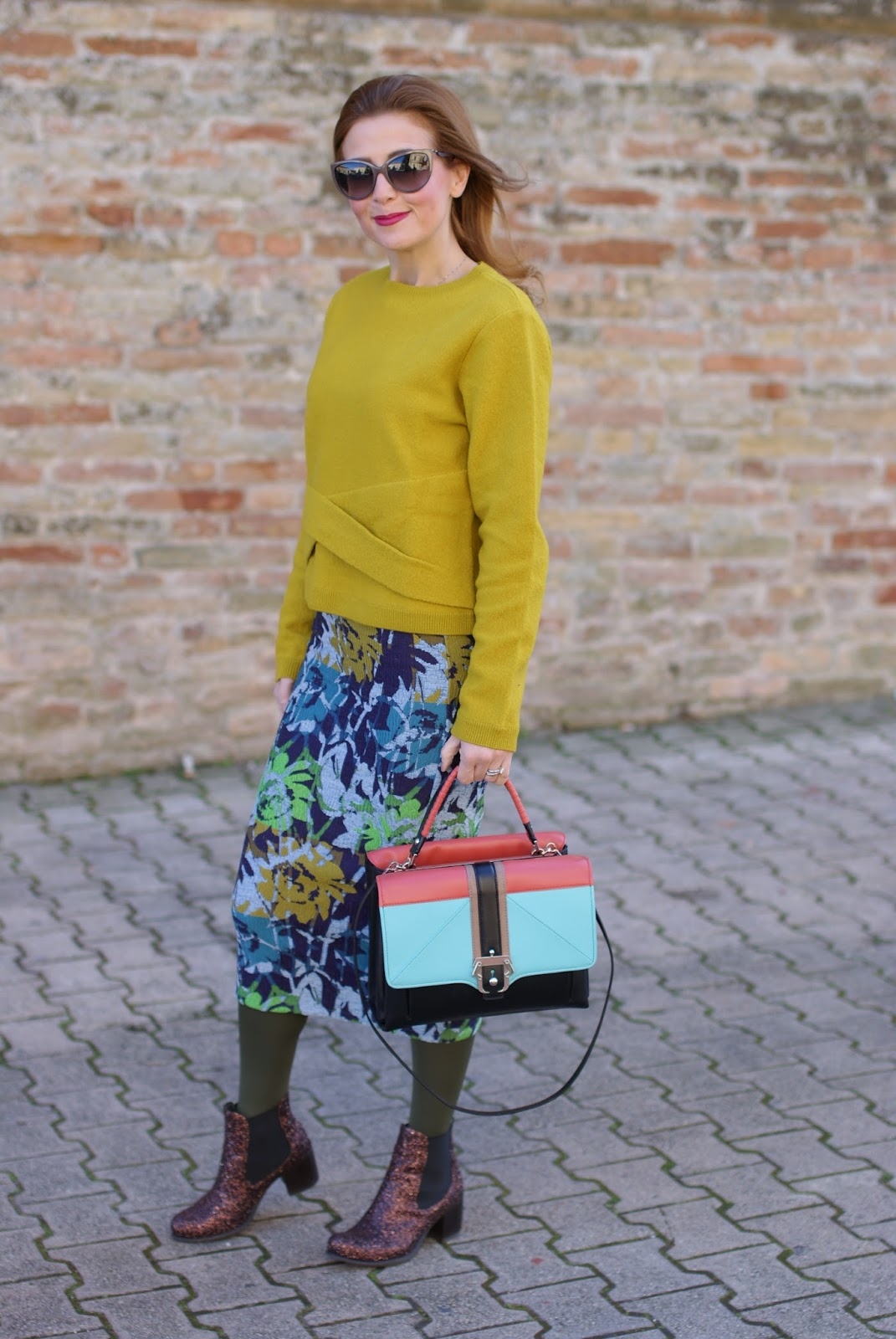 Lime yellow sweater and floral jacquard midi pencil skirt on Fashion and Cookies fashion blog, fashion blogger style