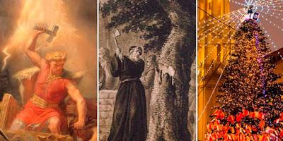 imagem de Thor, São Bonifácio e árvore de natal
