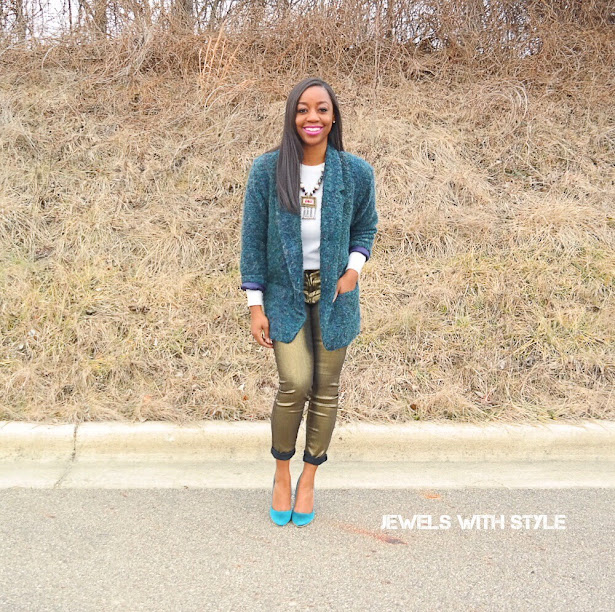 fashion rules to break, fashion myths, gold pants outfit, hunter green blazer, green pumps, green heels, columbus style blogger, black fashion blogger, black style blogger, how to wear gold pants, jewels with style, how to wear a blazer, metallic pants outfit