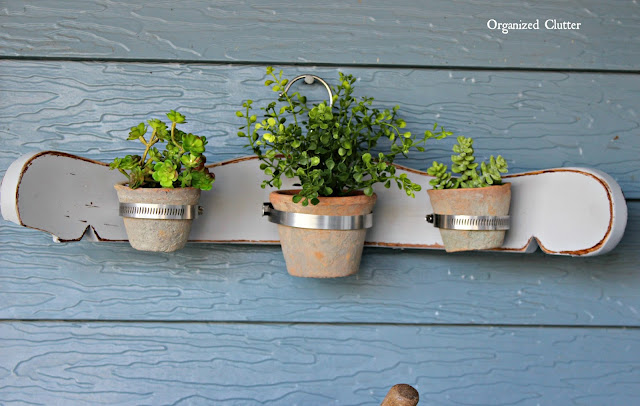 Repurposed Chair Back Wall Planter www.organizedclutter.net