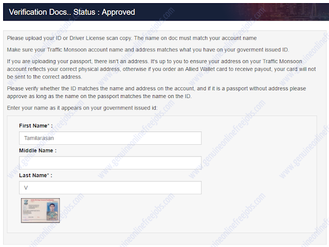 Traffic Monsoon - Account verification step 4