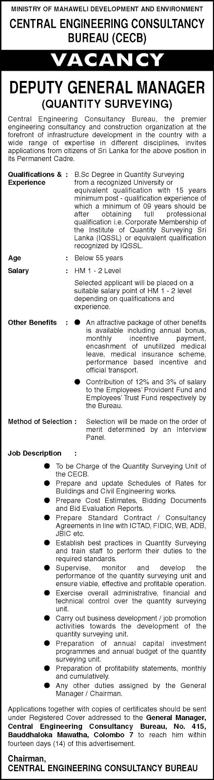 Vacancies –Deputy General Manager - Central Engineering Consultancy Bureau - Ministry of Mahaweli Development and Environment
