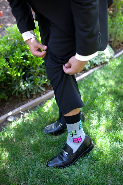 Disneyland wedding - Tetris Socks!  {Katie Keller Photography}