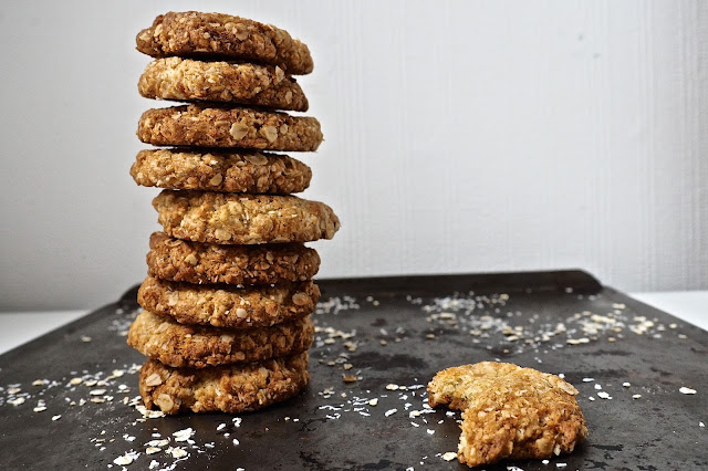 ANZAC Biscuit stack on tray