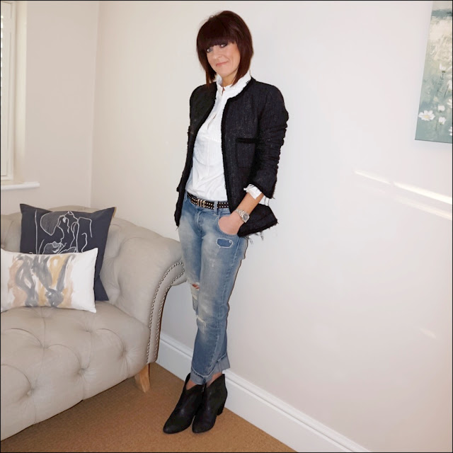My Midlife Fashion, Alice Temperley Somerfield pleated bib blouse, zara boucle jacket, the kooples studded belt, zara distressed boyfriend jeans, ash jessie ankle boots