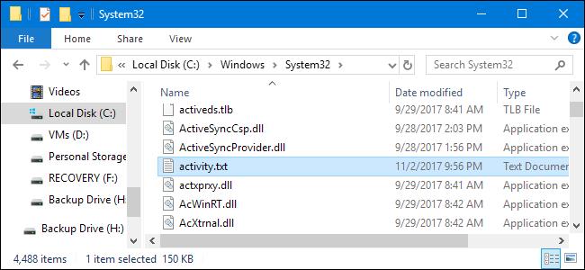 Il file di testo è memorizzato nella cartella  Windows -System32