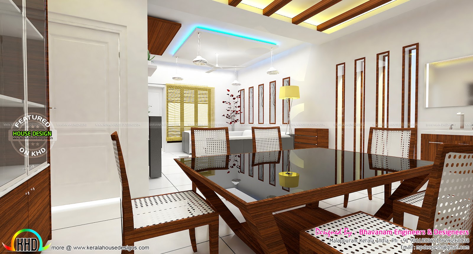 Living room interior decors ideas kerala home design and for Latest dining hall designs