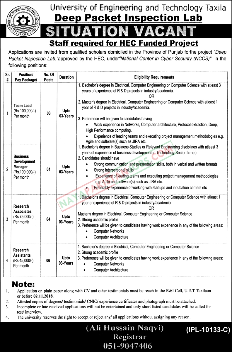 Latest Vacancies Announced in University Of Engineering And Technology UET 17 October 2018 - Naya Pakistan