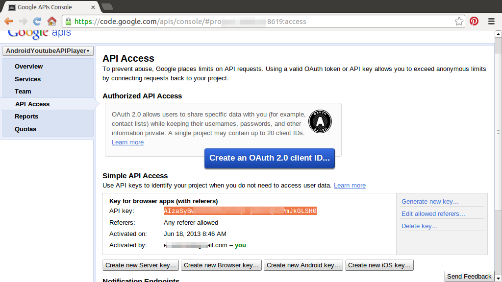 Android-er: Register your app using YouTube Android Player API and