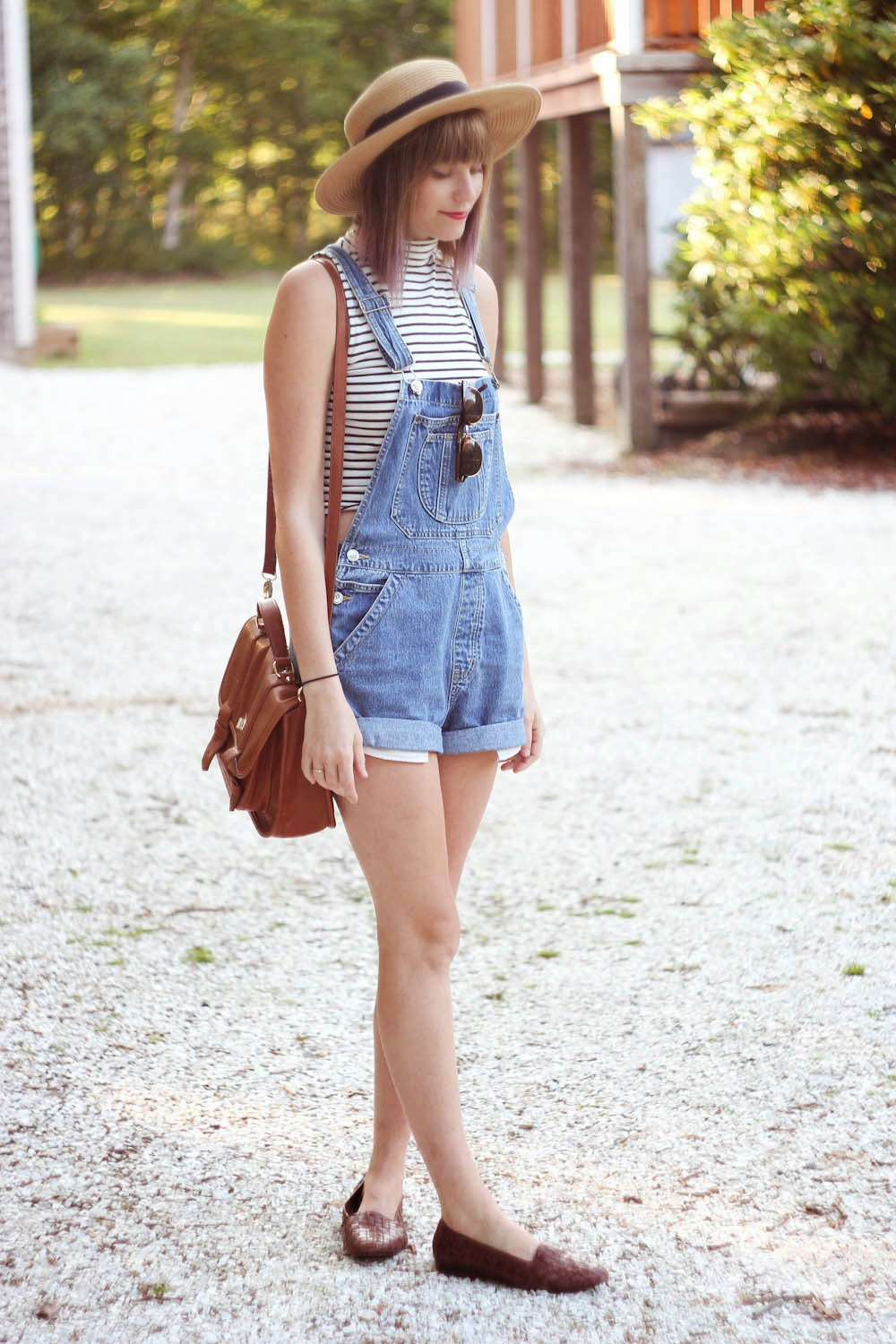 vintage overalls, forever 21 crop top, marthas vineyard