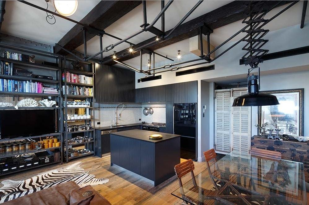 Una estancia renovadora en los suburbios cocinas con estilo for Isla cocina industrial