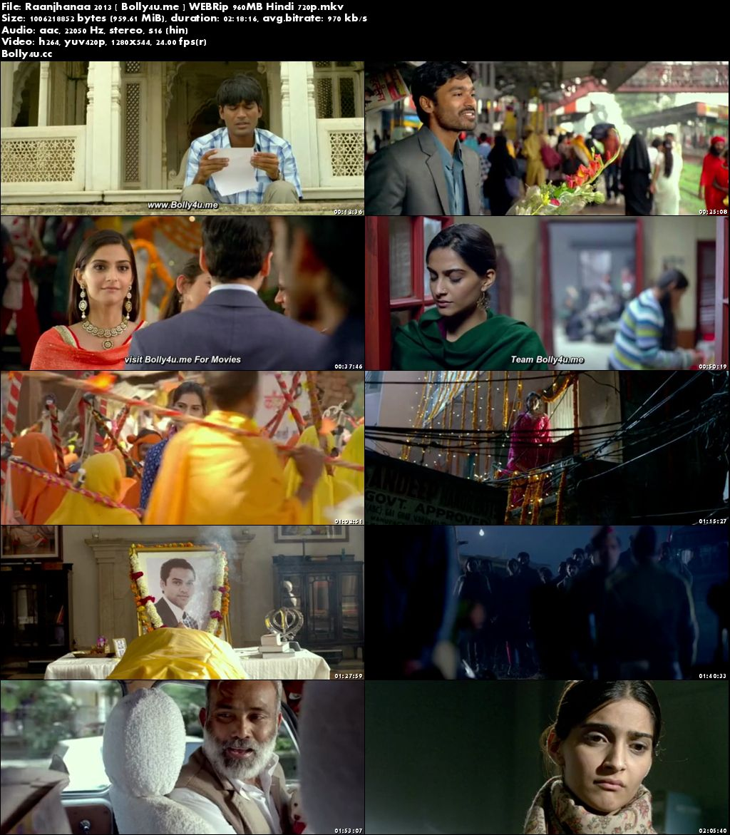 Raanjhanaa 2013 WEBRip 950MB Full Hindi Movie Download 720p
