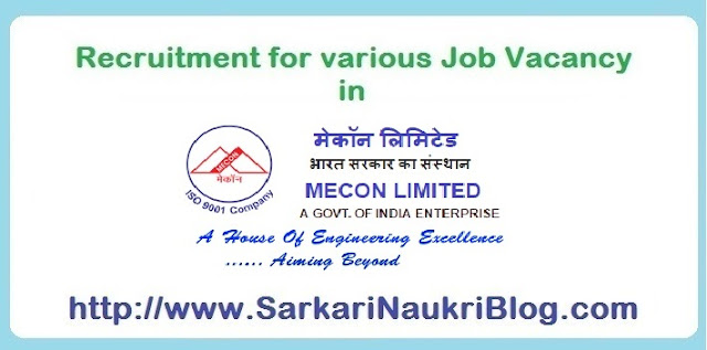 aukri Vacancy Recruitment in Mecon Limited