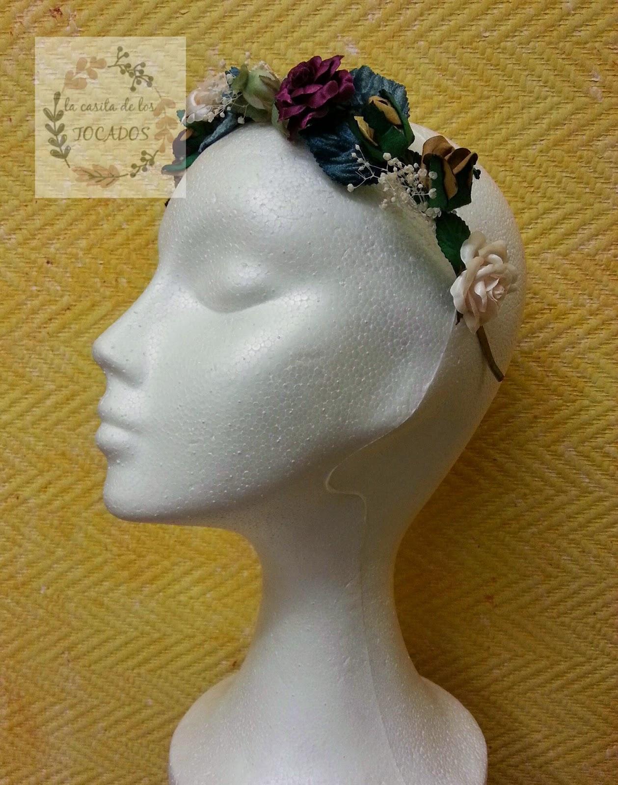 diadema original para boda en colores turquesa, burdeos, crudo y dorado