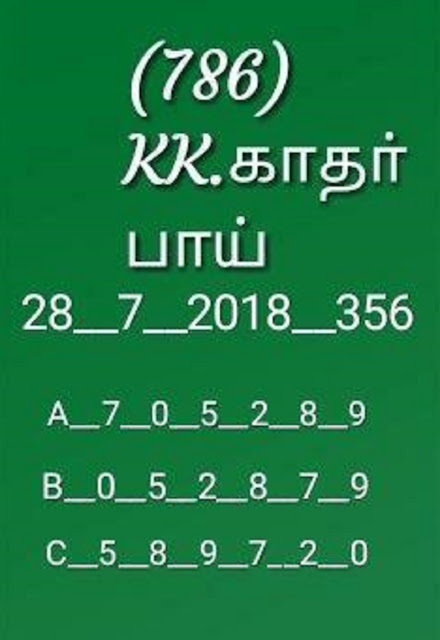 kerala lottery abc all board karunya on 28-07-2018 guessing guessing by KK