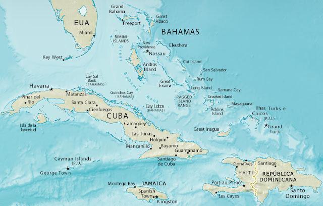 Mapa das Bahamas e redondezas