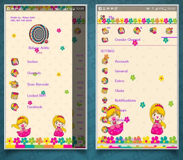 BBM Princess The unlocked APk v3.3.4.48 Tutorial remod Theme