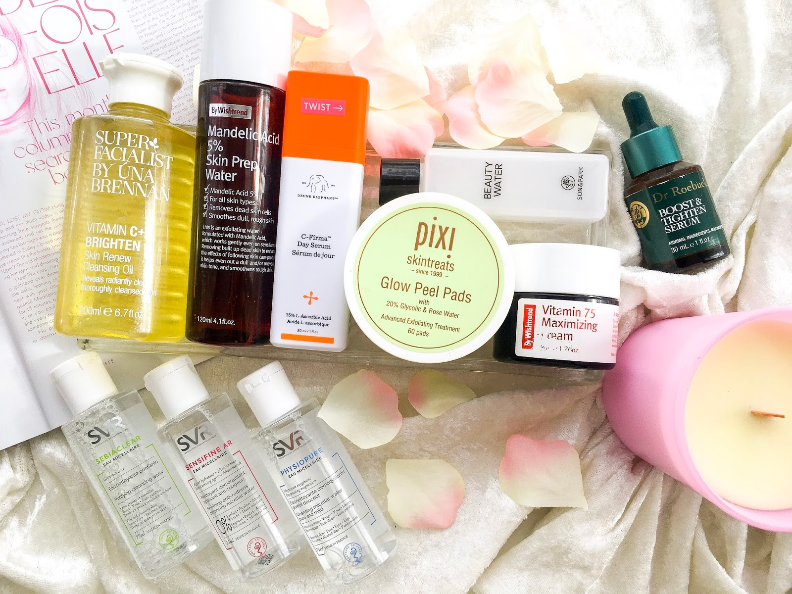 svr micellar water, wishtrend mandelic acid skin prep, drunk elephanct c firma day serum, dr roebucks boost and tighten serum, wishtrend vitamin 75 cream, pixi glow peel pads, superfacialist vitamin c cleansing oil, son and park beauty water,