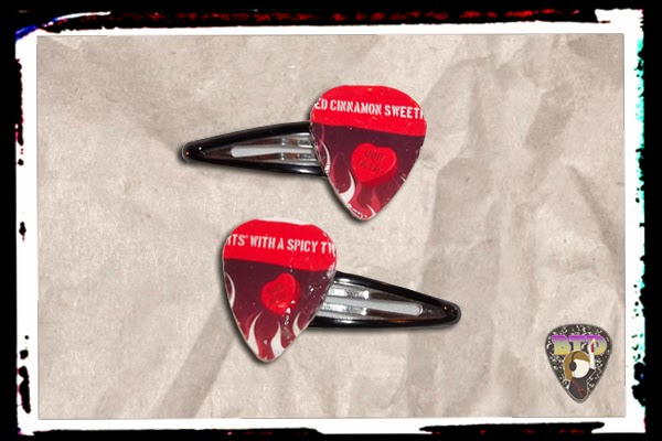 Spicy Candy Hearts Guitar Pick Hair Clips