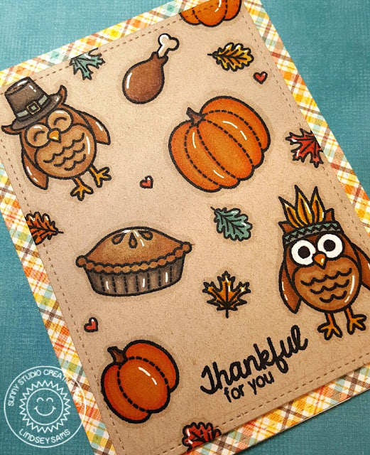 Sunny Studio Stamps: Harvest Happiness Thanksgiving Pilgrim & Indian Owl Card by Lindsey Sams.