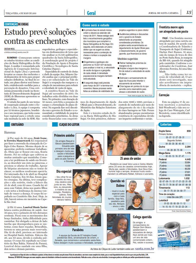 Estudo prevê soluções contra as enchentes em Santa Catarina, Blumenau e Vale do Itajaí por Cristian Weiss, Cristian Edel Weiss, Jornal de Santa Catarina, RBS e NSC Comunicação