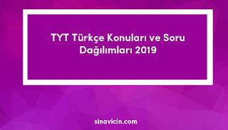 TYT Türkçe Konuları ve Soru Dağılımları 2019