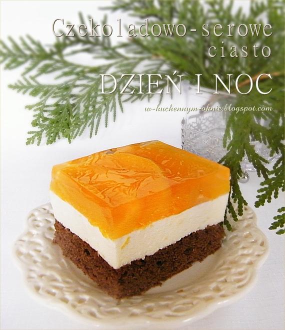 pyszne ciasto z kremem serowo- czekoladowym na czekoladowym spodzie z dodatkiem brzoskwiń zanurzonych w galaretce