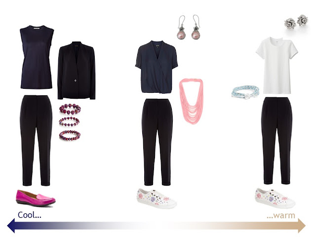 """three outfits from a """"Whatever's Clean 13"""" warm weather travel capsule wardrobe in navy, beige and white"""