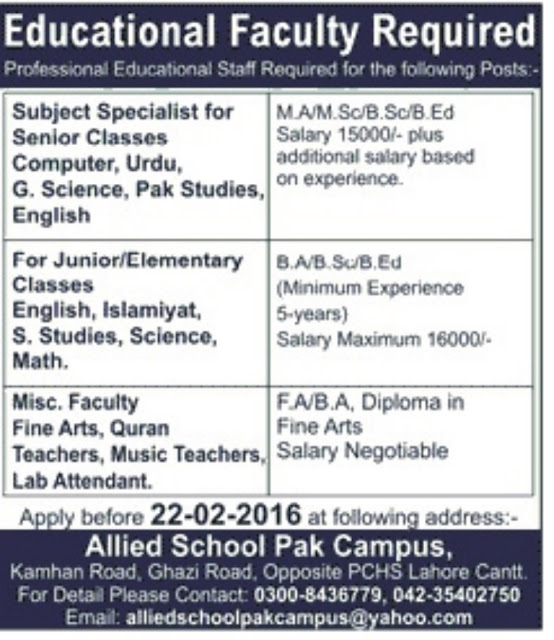 Teachers Jobs in Allied School Pak Campus Lahore