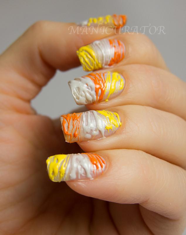 Digit-al Dozen Halloween Week Candy Corn String Nail Art