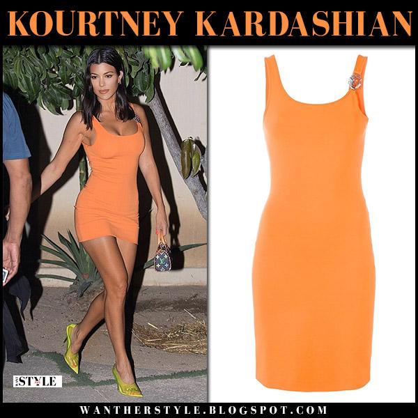 Kourtney Kardashian in versace bright orange mini dress and yellow pumps yeezy summer style august 25