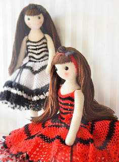 Crochet amigurumi dolls in beautiful dresses