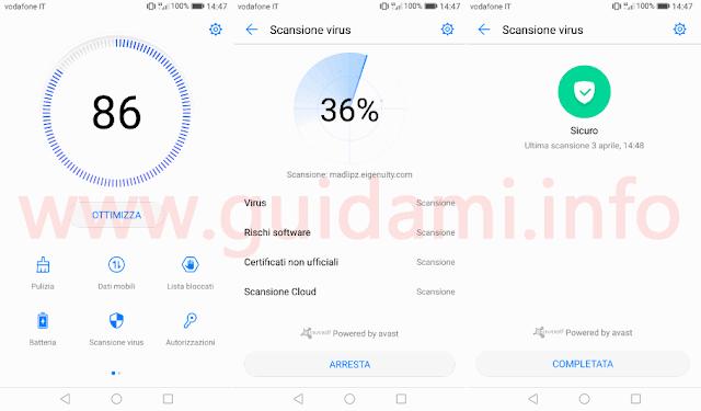 Huawei EMUI 5 Scansione Avast antivirus