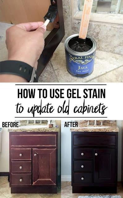 How to use gel stain to update old cabinets.